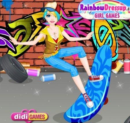 Девушка со скейтом играть